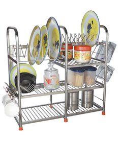 Amol Stainless Steel Kitchen Rack Steel Storage Rack, Storage Racks, Kitchen Rack, Stainless Steel Kitchen, Kitchen Organization, Organize, Modern, Home Decor, Kitchen Shelf Unit