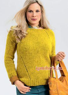 Большие размеры. Янтарный пуловер с узором «ромбы». Вязание спицами  Мягкий, несложный в исполнении, теплый пуловер из тонкой альпаки с минималистичным ажуром выручит вас в холодную погоду