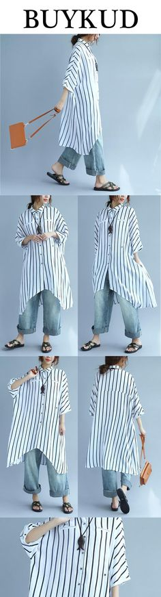 White, black, blue; stripes, shirt, jeans; wearing this, you'll be a fashion icon!