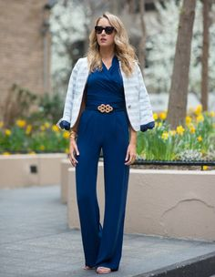 blue jumpsuit with office blazer