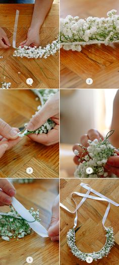 diy floral crown diy floral crown on /julep today! Doshi Doshi Bennett Creswell Creswell Meister-Gibson not the baby's breath but the concept! Diy Flower Crown, Diy Crown, Diy Flowers, Wedding Flowers, Flower Crown Tutorial, Flower Girl Wreaths, Floral Crown Wedding, Flower Girls, Floral Flowers
