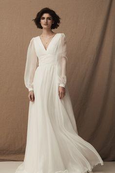 """Bridal """"Feelings"""" - Total White 70s Wedding Dress, Bohemian Wedding Dresses, Gorgeous Wedding Dress, Modest Wedding Dresses, Bridal Dresses, One Shoulder Wedding Dress, Wedding Gowns, Prom Dresses, Dress Wedding"""