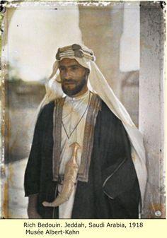 The Arabs~Rich Bedouin, Jeddah, Saudi Arabia, 1918. Musee Albert-Khan