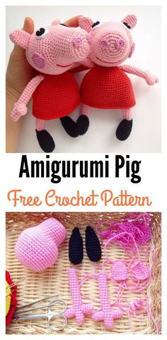 Crochet Toys Ideas Crochet Amigurumi Peppa Pig Free Pattern - It can be hard to find Amigurumi free patterns for little boys, but these cute Crochet Amigurumi Pig Free Patterns can help make special friends for them. Crochet Mignon, Crochet Pig, Crochet Amigurumi Free Patterns, Cute Crochet, Crochet For Kids, Crochet Dolls, Crochet Yarn, Amigurumi Tutorial, Crochet Animals