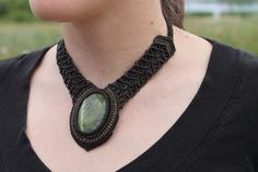Micro Macrame Serpentine Necklace with a Natural Semi by Beckinka