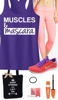 Purple & Coral Themed #Workout Gear featuring a Purple MUSCLES & #MASCARA Racerback Tank Top by #NobullWomanApparel, $24.99 on Etsy. Look great and motivate yourself! Click here to buy https://www.etsy.com/listing/183814044/muscles-mascara-workout-tank-top-purple?ref=shop_home_active_1