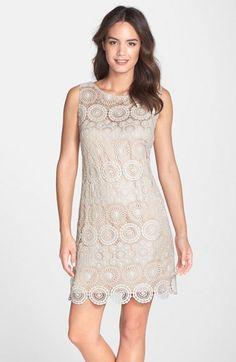 Eliza J Crochet Sleeveless Shift Dress (Regular & Petite) available at Nordstrom. Mob Dresses, Petite Dresses, Shift Dresses, Nice Dresses, Tulip Dress, Lace Dress, Lace Outfit, Scalloped Dress, Spring Dresses