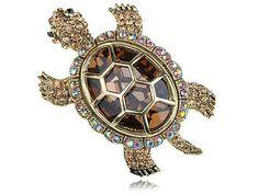 Multi Colored Crystal Rhinestone Gold Tone Sea Turtle Tortoise Animal Pin Brooch Alilang. $16.99