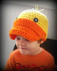 FREE SHIPPING-Crochet baby hat- Photography prop- babies infants newborns kids children- winter hat- easter-costume-Duckie newsboy hat. $18.00, via Etsy.