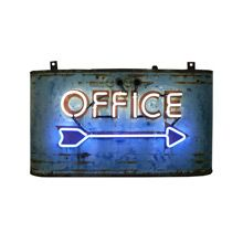 NEW to Rejuvenation Restored Antiques & Vintage Finds: Worn and Rusted Streamline Neon Office Sign C1940s