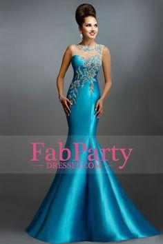 2015 Prom Dresses Bateau Trumpet Satin Embellished With Applique