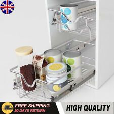 3 Pull Out Kitchen Storage Basket Rack Kitchen Wire Mesh Cabinet Organiser 600mm | eBay Pull Out Kitchen Storage, Larder Storage, Cupboard Storage, Storage Baskets, Food Storage, Kitchen Larder, Kitchen Drawers, Sliding Door Mechanism, Sliding Doors