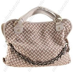 Korean Style Woven Chammy & Leather Lounge Shoulder Bag with Short/ Long Straps for Lady Girl Woman ($30.59)
