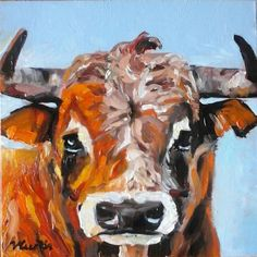 Bull original oil painting by Vicky Curtin by MyCoveArt on Etsy Paintings, Oil, The Originals, Unique Jewelry, Handmade Gifts, Etsy, Vintage, Kid Craft Gifts, Paint