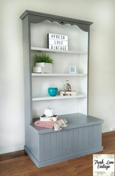 Bookcase blanket box grey white  @freshlovevintage