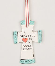 Another great find on #zulily! 'Thankful Heart, Happy Heart' Hanging Cross by Glory Haus #zulilyfinds