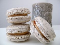 Earl Grey Salted Caramel Macarons w/flecks of tea leaves throughout...yum ~ from Food, je t'aime