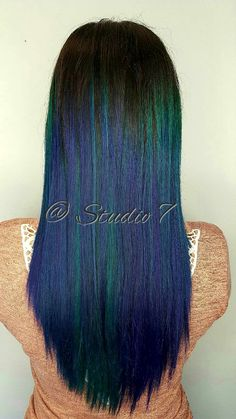 Hair creations, colored hair,  awesome hair, studio 7, peacock, colorful, blues, purples, teals,  blue hair, purple hair, teal hair, peacock colors