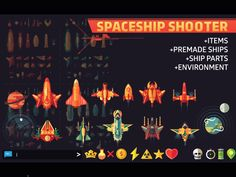 SpaceShip Shooter Pack - 2D Game Graphic Packs. Top down sprites