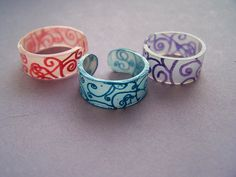 """Shrinky Dink Rings. So fun an easy! Search """"Shrinky Dink Ring"""" for more ideas of what you can do with this simple idea. TRY IT!"""