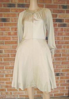Vtg-ANNE-FOGARTY-Gold-Shimmer-KEY-HOLE-Boho-FULL-SKIRT-Disco-Dress