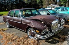 Crashed Mercedes-Benz 280 SE | Found this today in back of a foreign car repair shop in South Salem, New York. Looks like it collided in back of a truck. I guess you could say *puts on sunglasses* das a wreck B)