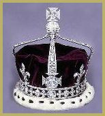 this crown was made for Queen Elizabeth. This contains the legendary Koh-i-noor, or the Mountain of Light Diamond. Indian in origin, its history can be traced to the thirteenth century