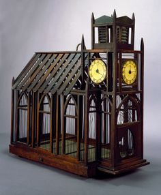 """Playwright Jacques Deval once wrote, """"God loved the birds and made trees. Man loved the birds and made cages."""" I am much more content watching birds soaring and Antique Bird Cages, Antique Clocks, Clock Painting, Wooden Slats, Vintage Birds, Objet D'art, Design Museum, Bird Feathers, Beautiful Birds"""