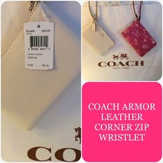 SALE. COACH LEATHER CORNER ZIP WRISTLET **Listing is for the Chalk Color Wristlet