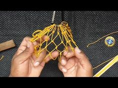 How to start weaving the net Basket Weaving Patterns, Macrame Patterns, Macrame Art, Macrame Knots, Paper Weaving, Hand Weaving, Paracord, Net Making, How To Make Rope