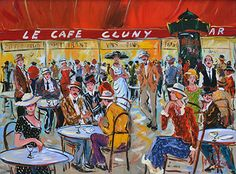 French Art Network | Clauzade Paintings - LE CAFE CLUNY PARIS