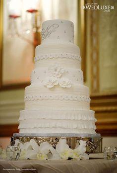 Elegant Cream & Rhinestones Wedding Cake Photo