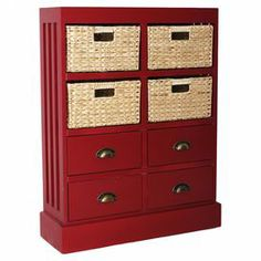 """Equally at home in coastal-inspired rooms or country-chic spaces, this 4-drawer chest features apothecary-style handles and 4 hand-woven baskets.  Product: ChestConstruction Material: Wood, wicker and metalColor: Red and naturalFeatures:  Four hand-woven baskets includedFour drawersApothecary style handles Dimensions: 35"""" H x 30"""" W x 8.5"""" D"""