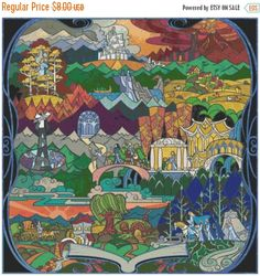 """ON SALE Lotr lord of the rings Stained Glass - Counted Cross Stitch  pattern chart pdf - 30.00"""" x 30.00"""" - L1182"""