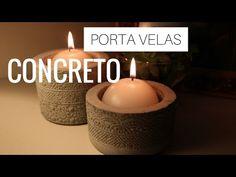 DESAFIO DIY | Vasos de concreto | Por GavetaMix - YouTube Diy Porta Velas, Candle Jars, Candles, Concrete Art, Diy Holz, Vase, Some Ideas, Candle Making, Youtube