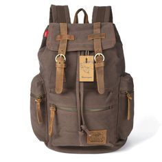 BESTOPE® Vintage Men Casual Canvas Leather Backpack Rucksack Bookbag Satchel Hiking Bag Shool Bag (D-ARMY GREEN)