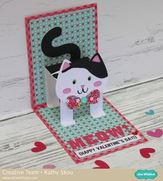 Hi Everyone! It's Kathy today with Lori's new Pop Up Card Cat (SVG, Silhouette) ! Being a crazy cat lady, this card was right up my alley!! This card is super easy to assemble (see the video tuto...