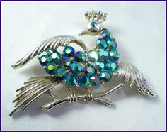 Designer Coro Blue/Green AB Rhinestone Peacock Brooch  by MarlosMarvelousFinds