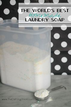 The World's Best Homemade Laundry Soap: 2 cups Borax 2 cups Baking Washing Soda 2 cups Baking Soda 1-2 cups Downy Unstopables for scent 1 bar of Fels Napha, grated 2 cups Oxi Clean  Grate the Fels Napha into a large mixing bowl. Add in all other ingredients and stir together until well mixed. Use 1-2 Tablespoons per load