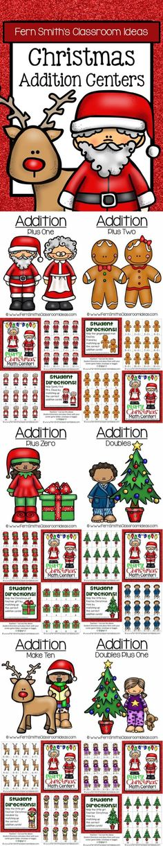 Quick and Easy to Prep Bundle of Christmas Addition Centers - This discounted bundle has six different addition strategies which can be mixed and matched for endless combinations. #TPT $Paid