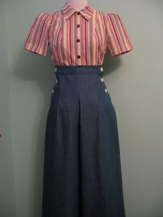 1930's 1940's vintage both side buttoned denim slacks  CUSTOM for your size. I want this. Cute!
