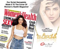 We made it to the cover of Women's Health Magazine! Stay fit & active in style with our most elegant 14K Gold petite and strong nameplate Special thank you to Priyanka Chopra and Women's Health  Shop Now: http://store.janebasch.com/gold-petite-lowercase-nameplate-necklace/