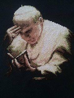 Quadro Papa Wojtila su sfondo nero