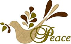 """Dove of Peace Embroidery Design. The symbol of the dove appears in many funerary inscriptions in the Roman catacombs, sometimes accompanied by the words in pace (Latin for """"in peace"""".) - Wikipedia"""