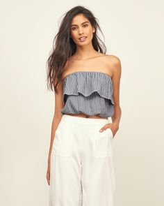 Abercrombie Cropped Strapless Top NWT on Mercari Strapless Tops, All American Clothing, Peasant Tops, Crop Shirt, Fashion Outfits, Womens Fashion, Dress Me Up, Spring Outfits, Summer Outfit