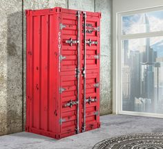 17 Stories' distressed metal bar cabinet has looks inspired by an industrial shipping container. It features a double-decker design that's ideal for Classic Furniture, Metal Furniture, Unique Furniture, Furniture Ideas, Modular Furniture, Inexpensive Furniture, Furniture Websites, Furniture Removal, Furniture Logo