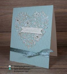 Stampin' Up! Bloomin' Heart wedding card designed by demo Beth McCullough. Please see more card and gift ideas at www.StampingMom.com #StampingMom