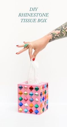 Cheap Crafts for Teens - DIY Rhinestone Tissue Box - Inexpensive DIY Projects for Teenagers and Tweens - Cute Room Decor, School Supplies, Accessories and Clothing You Can Make On A Budget - Fun Dollar Store Crafts - Cool DIY Gift Ideas for Christmas, Birthdays, BFF gifts and more - Step by Step Tutorials and Instructions http://diyprojectsforteens.com/cheap-craft-ideas-for-teens/