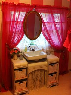 Revamped waterfall makeup table turned into bathroom vanity :))! Dresser Vanity Bathroom, Bathroom Furniture, Painted Furniture, Large Bathrooms, Small Bathroom, Bathroom Ideas, 1940s Decor, Shower Units, Antique Beds