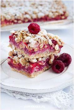 Shortbread oatmeal with raspberries - I Love Bake Sugar Free Recipes, Sweet Recipes, Cake Recipes, Dessert Recipes, Polish Desserts, Good Food, Yummy Food, Healthy Cake, No Bake Cake